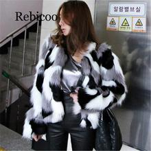 2019 Winter New Imitation Fur coat Big size Womens Loose Leather Fox Round Neck Short Ladies Mixed Color Coat