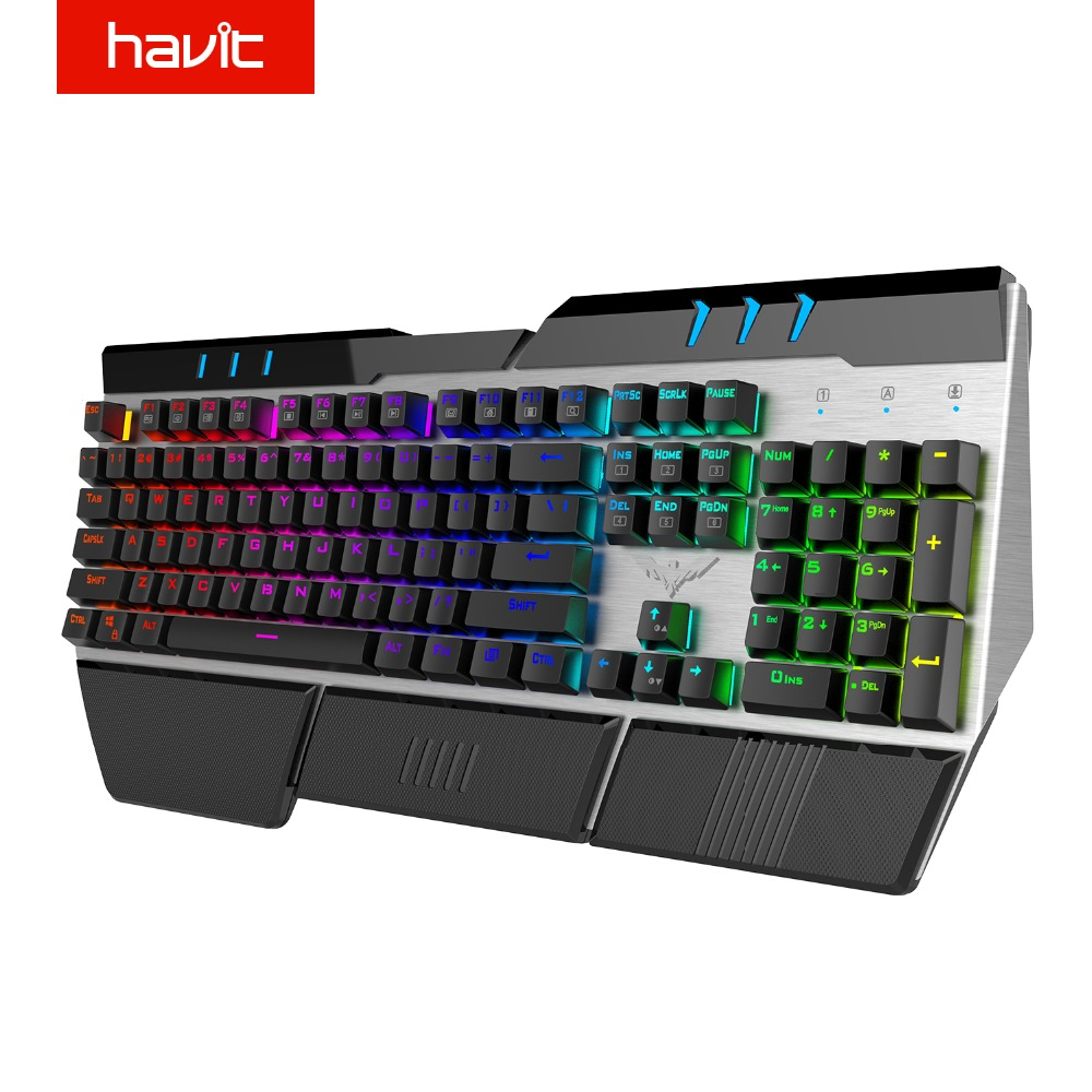 HAVIT Wrist Relax Design Mechanical Keyboard 104 Keys RGB Backlit Modes USB Wired Gaming Keyboard with