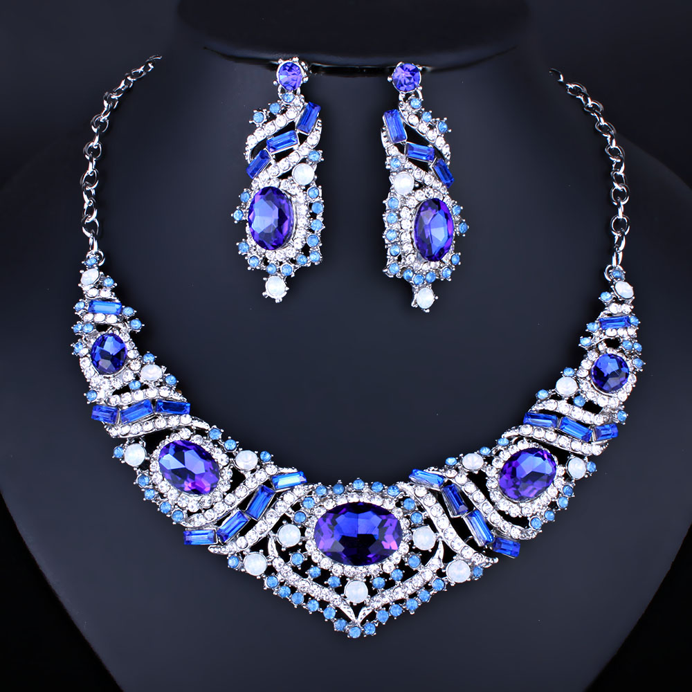 FARLENA Jewelry Exquisite Crystal Necklace Earrings Set
