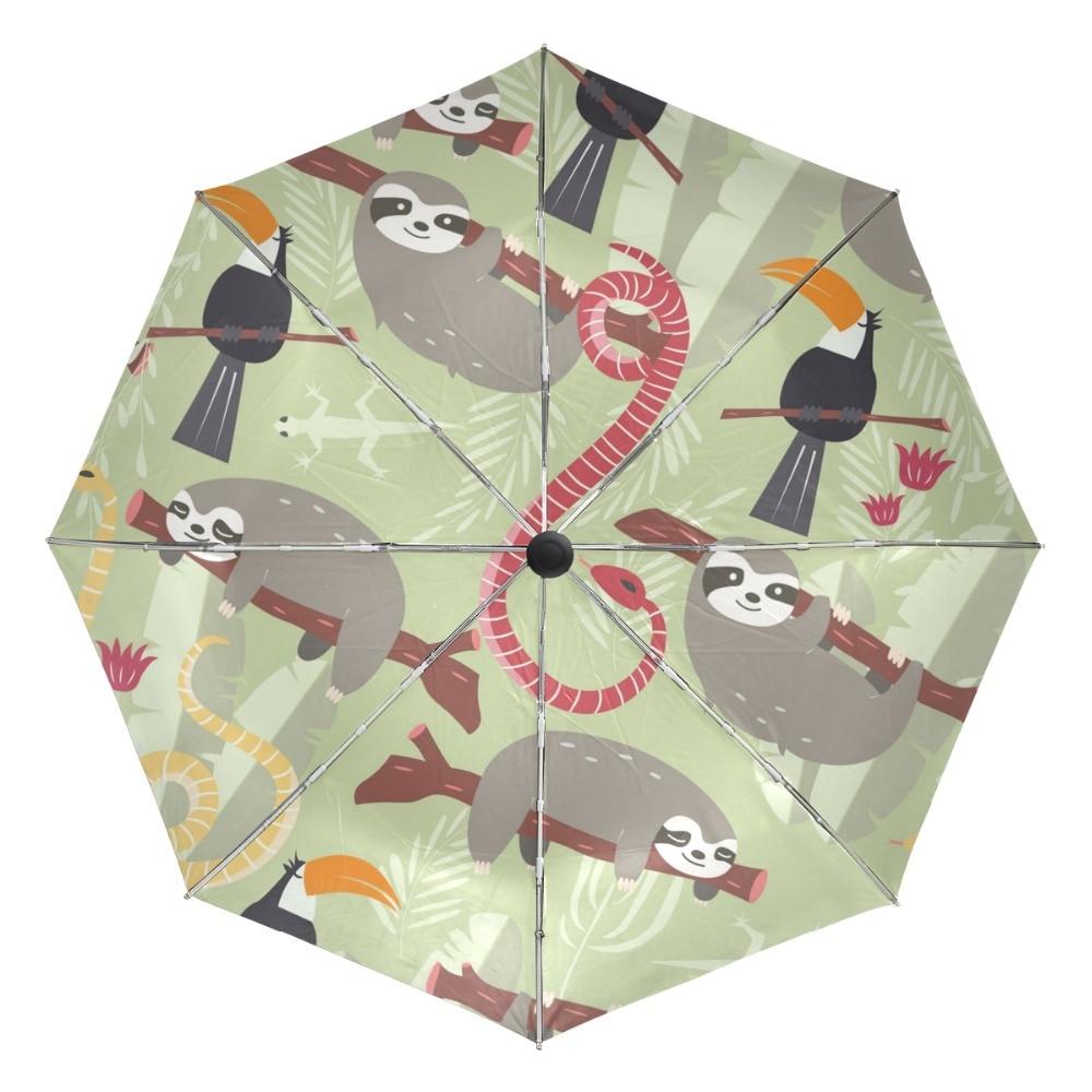 Folding Umbrella Rainproof /& Windproof Umbrella Sloth Custom Umbrella