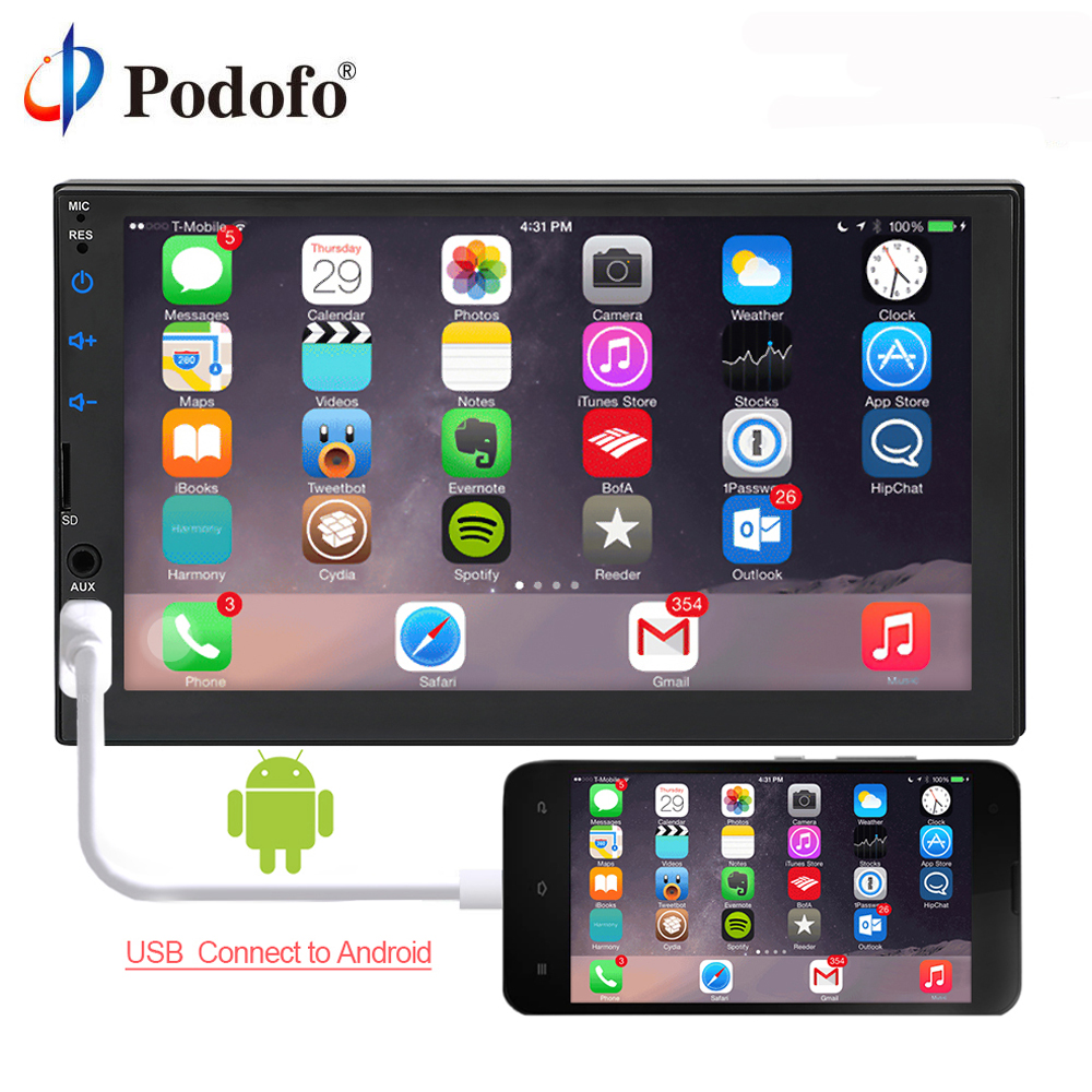 Podofo Android 2 din Car radio Multimedia Video Player 7 Universal Stereo GPS Navigation Wifi Bluetooth USB Autoradio FM Audio