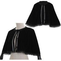 Cosplaydiy Lady's Medieval Lace Velvet Shawl Cape Women Victorian Winter Short Cloak Jacket Top Black Cloak L320