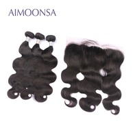 Body Wave Human Hair Bundles with Frontal Brazilian Human Hair Weave Remy Hair Extensions Lace Frontal Natural Color