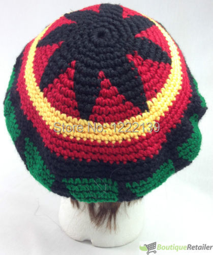 Rasta Hat Reggae Beanie Cap Jamaican Hippie Tam Knitted Stretchy Knitted  Beret Caps-in Skullies   Beanies from Apparel Accessories on Aliexpress.com  ... 1720182f61f