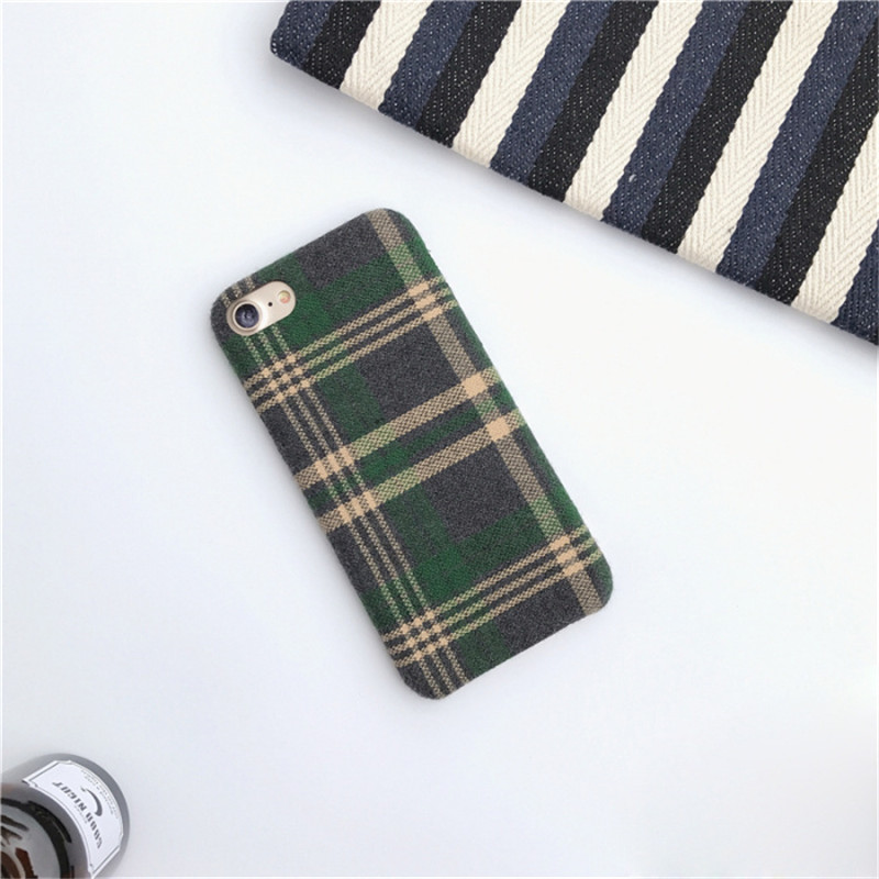 LUDI Britain style Grid Cloth Fabrics Grid Cloth Back Cover for iphone X 8 7 Plus Soft Phone Case for iphone 6 6S 66sPlus      6