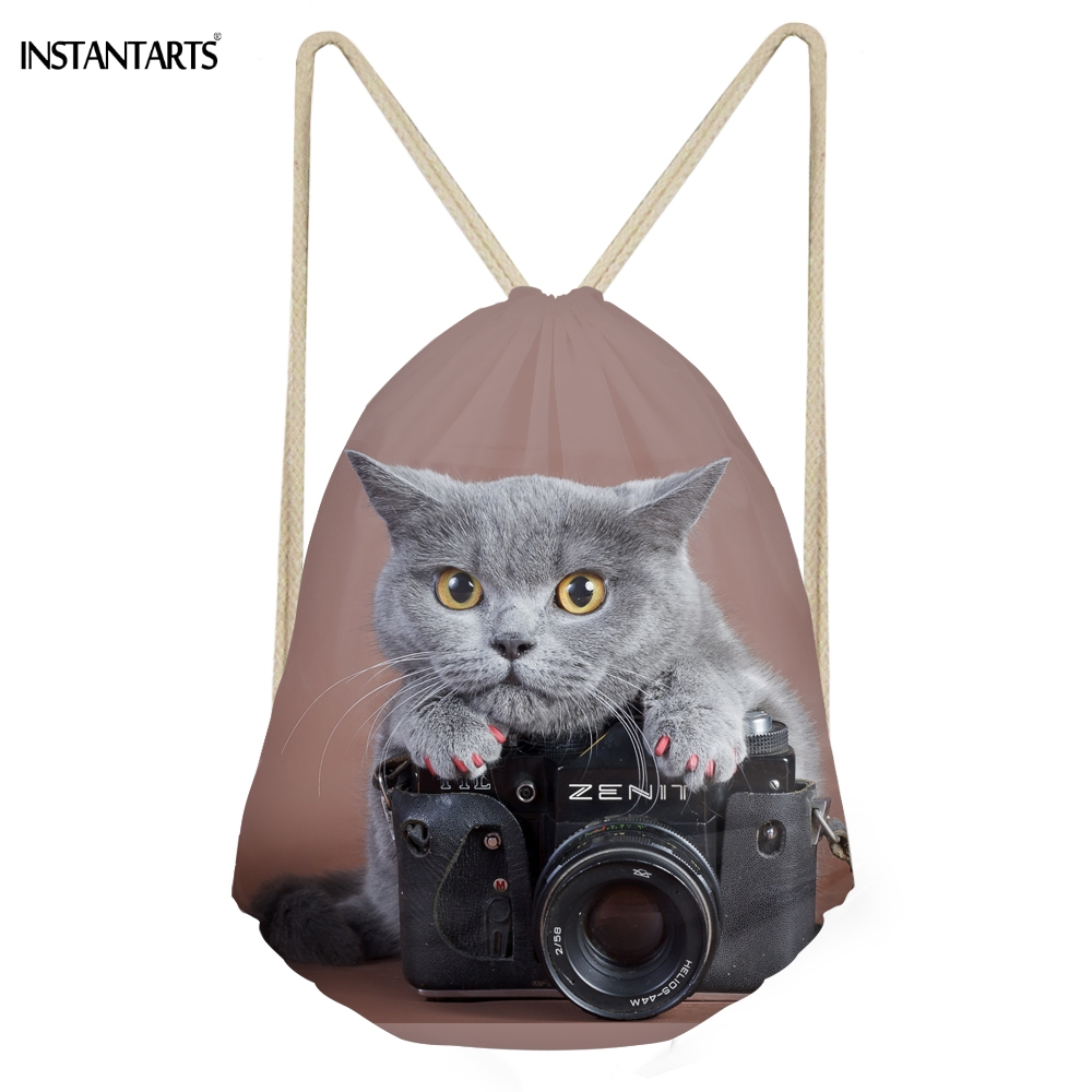 INSTANTARTS Cute 3D Animal Cameraly Cat/Kitten Printing Women Men Drawstrings Bags Softback Backpacks For Teens Girls Beach Bags