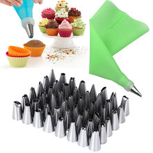 52 stks/set 2x 12in Siliconen Icing Piping Cream Spuitzak + 48x Rvs Nozzle Tips + 2x Converter DIY cake Decorating Gereedschap(China)