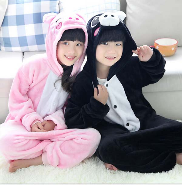 Winter Spring Children Halloween Gifts Fully Animal Pyjamas Hot Cartoon pink pig Costumes Warm Flannel Onesies Animal Pajamas