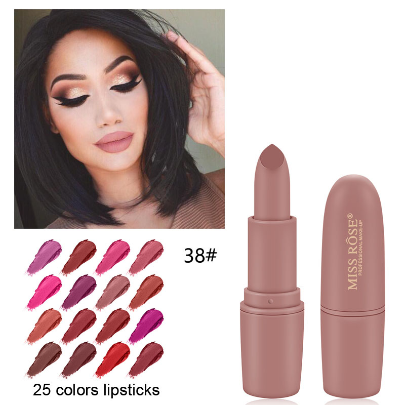 MISS ROSE Lipstick Matte  Waterproof Nutritious  25 Colors Easy To Wear Lipstick Long Lasting Lips Makeup Kyliejenner Lipstick(China)