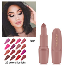 MISS ROSE Lipstick Matte Waterproof Nutritious 25 Colors Easy to Wear Lipstick Long Lasting