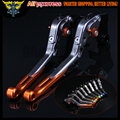 Orange+Titanium 8 Colors CNC Adjustable Folding Extendable Motorcycle Brake Clutch Levers For Kawasaki VERSYS 1000 2015 2016