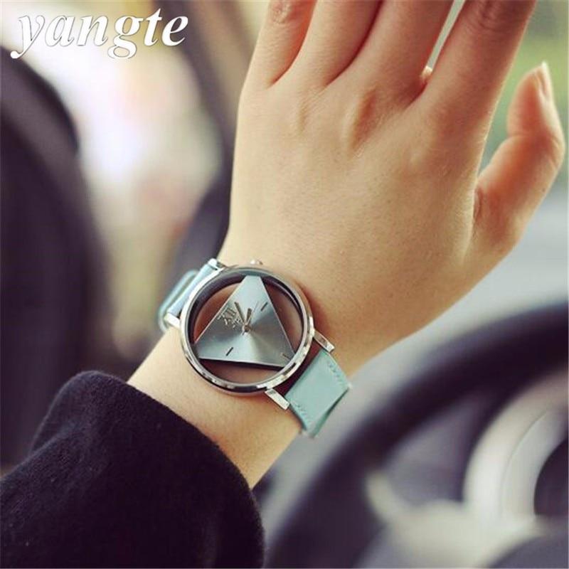 a0e5df9eaab Reloj Mujer YANGTE Recém Projeto Mulheres Moda Único Oco Triangular  Transparente Dial Quartz Relógio de Pulso Erkek Kol Saati H57
