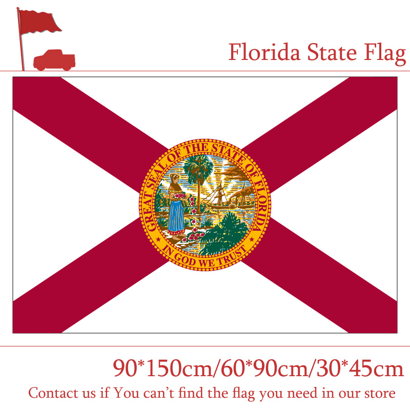 Free shipping Florida State Flag Of America 150X90cm 60 90cm Banner With Brass Metal Holes 30 45cm Car Flag 3X5FT in Flags Banners Accessories from Home Garden