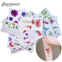 Яркие 25 дизайнов X 1 лист цветной цветок тату тело временная татуировка пион макияж рука ноги художественная наклейка зеленый лист сделай са...