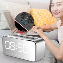 Portable Bluetooth Speaker with FM Radio Time Alarm Clock MP3 Player Mirror LED Stereo Speakers @LS