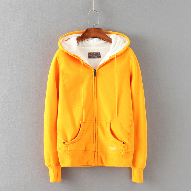 Zuolunouba 2018 New Winter Coat Casual Yellow Cotton Hoodies Women Corduroy  Solid Zip-up Tie Collar Girl Sweatshirts Pocket 2b3a21b1e9cb