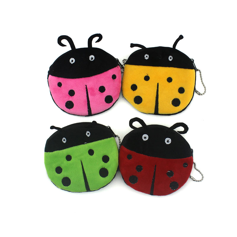 Cartoon Coin Purse Women Card Holder Bag Children Coin Bag Cute Ladybug/Bee Coin Wallet Small Ladies Fabric Zipper Coin Wallets new cute hello kitty handbag pink red girls purse cartoon cat coin bag ladies keychain wallets zipper key holder cash case