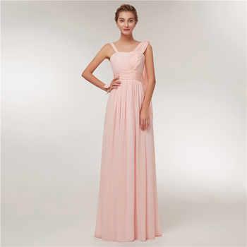 Beauty Emily 2020 Bridesmaid Dresses Chiffon Long Pink A-Line Sleeveless Wedding Party Prom Girl Dresses Hot Sale
