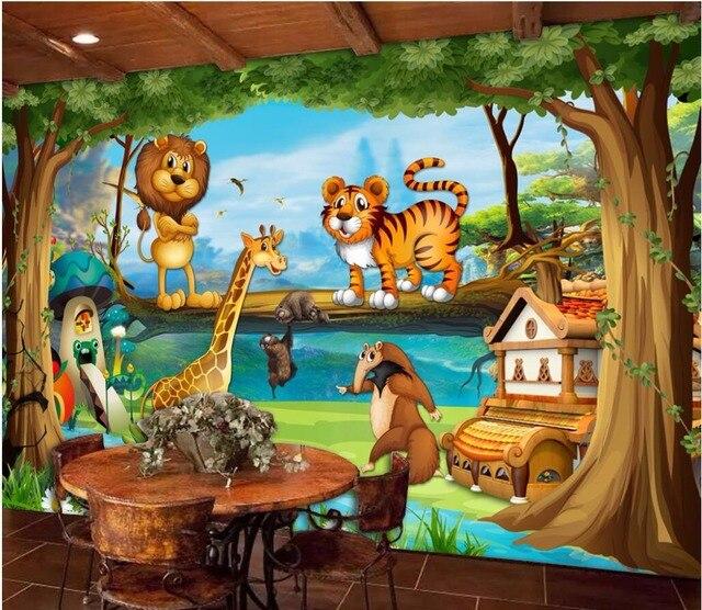 Custom mural photo 3d wallpaper Cartoon forest animal tiger lion