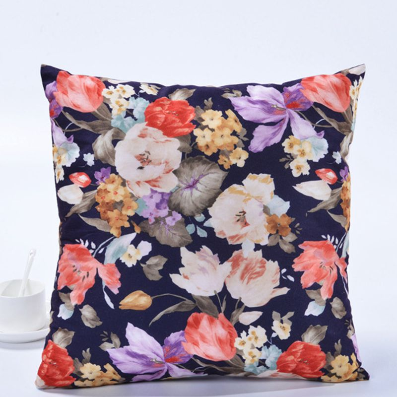 Купить с кэшбэком Colorful Flowers Pattern Square Cushions Cover Retro Style Pillow Case Polyester Cotton Throw Pillows Home Decor Pillow DT026