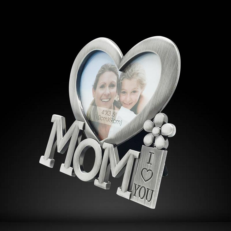I Love You Mom Photo Prame Mothers Day Heart Shape Metal Picture
