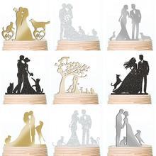Пользовательские Семейные Свадебные топперы для торта Жених и невеста с питомцами собаки кошки юбилей вечерние украшения торта