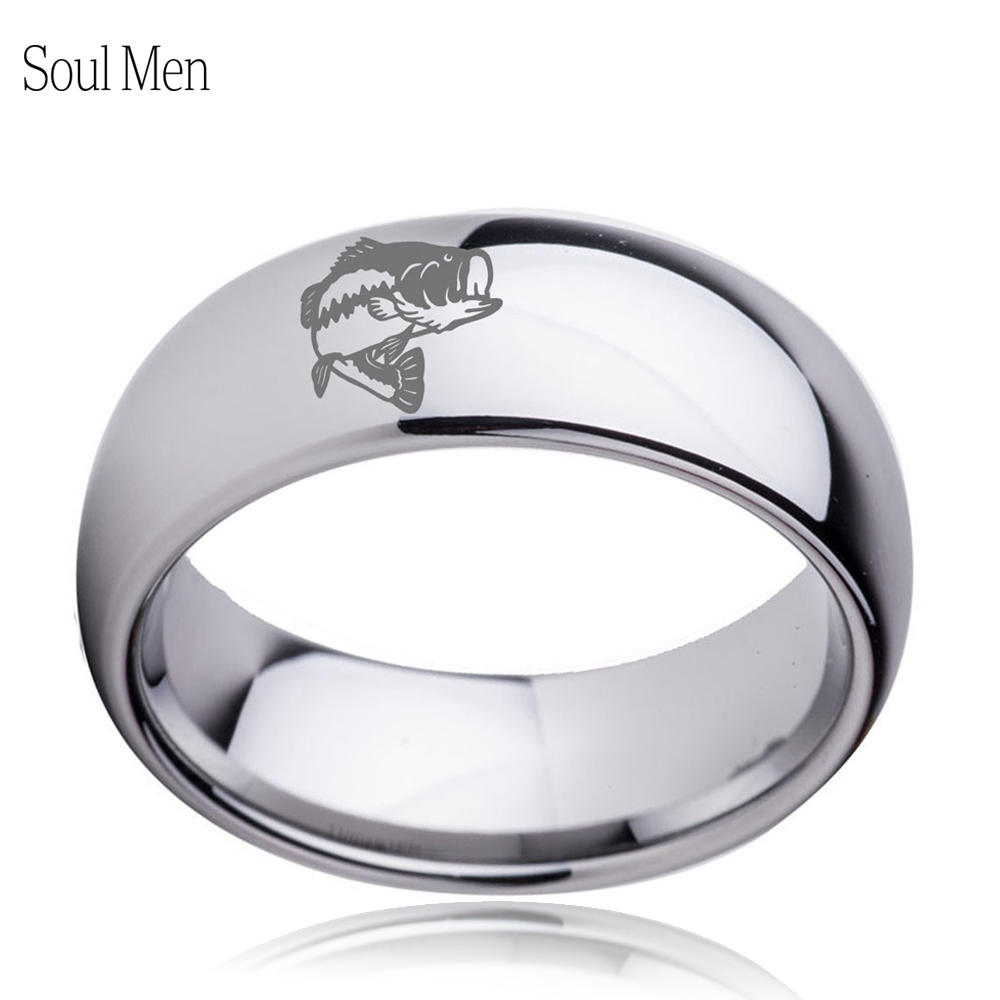 8mm men women silver plain dome shiny tungsten wedding for Mens fishing wedding bands