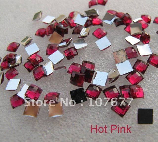 Acrylic Hot Pink Flat  Square Rhinestones dia 4mm,500 pcs/lot with one color free shipping