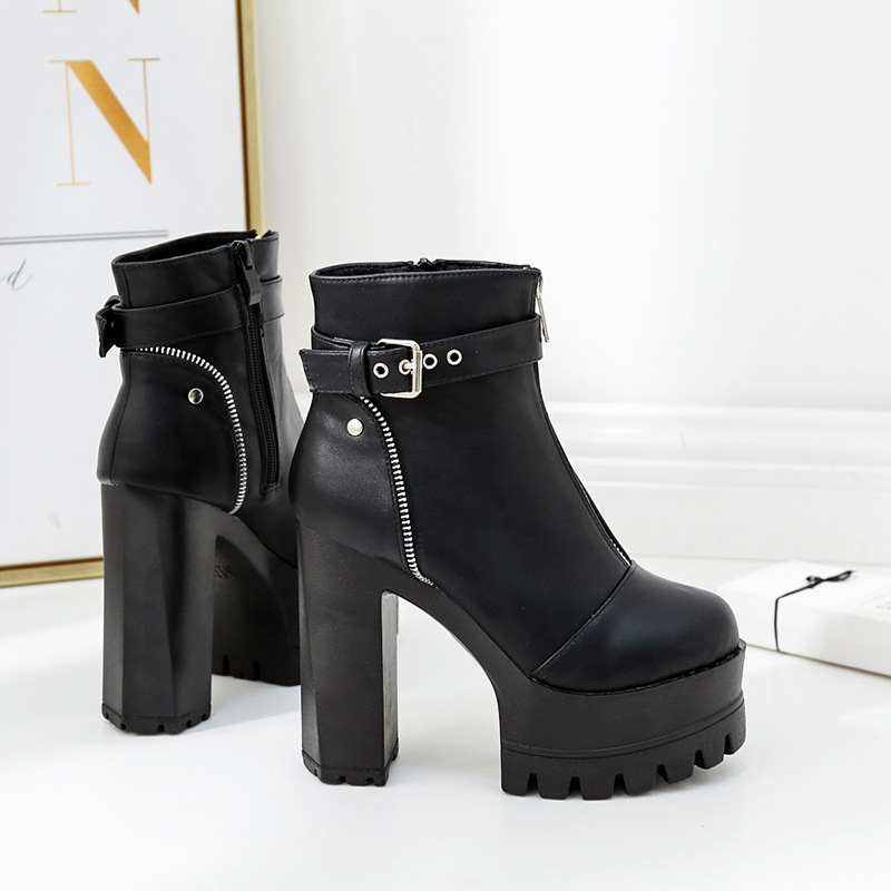 2019 New Women 39 s Boots Ultra High Heel women shoes Thick Platform Martin Boots quality leather ankle boots for women in Ankle Boots from Shoes