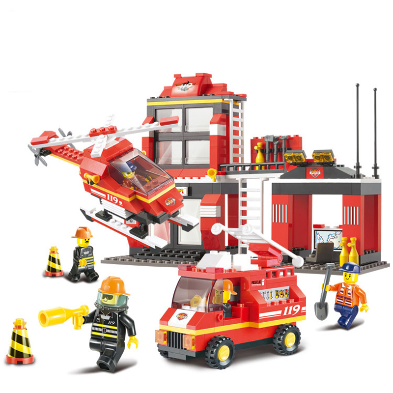 ФОТО 371PCS Plastic 119 Series Building Blocks Fire EnginesIn Helicopter Firemen In Color Box For Boys Educational Toy Birthday Gift