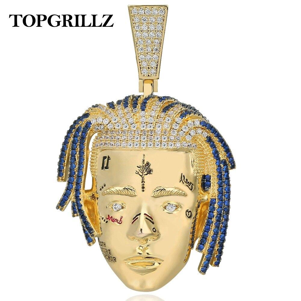 TOPGRILLZ Personnalisé Rappeur XXXTentacion Pendentif Collier Hommes Iced Out CZ Chaînes hip hop/Punk Or Couleur bijoux à breloques Cadeaux