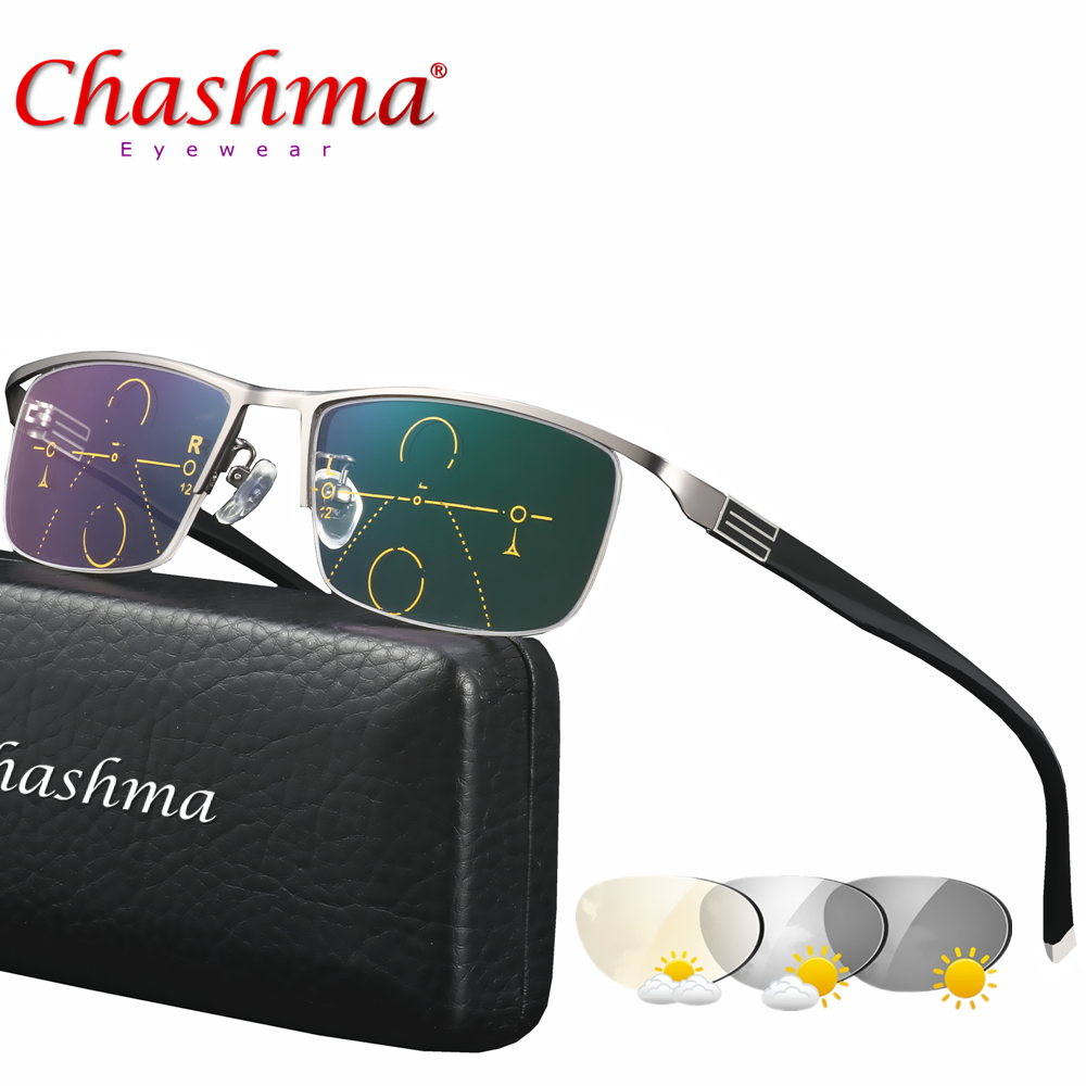 CHASHMA Adjustable Vision Bifocal Transition Sun Photochromic Progressive Reading Glasses Multifocal Eyeglasses +1 1.25 1.5 1.75
