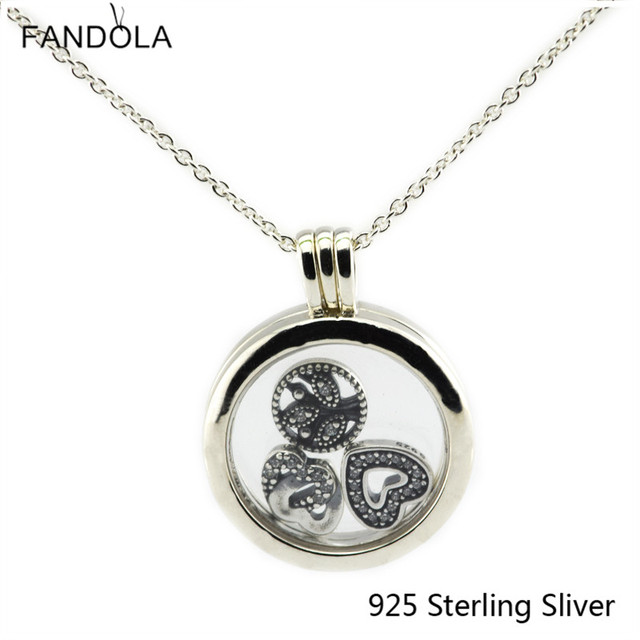 Pendants Box Compatible With European Style 925 Sterling Silver Jewelry Medium Floating Locket Silver Pendant DIY Charms CKK