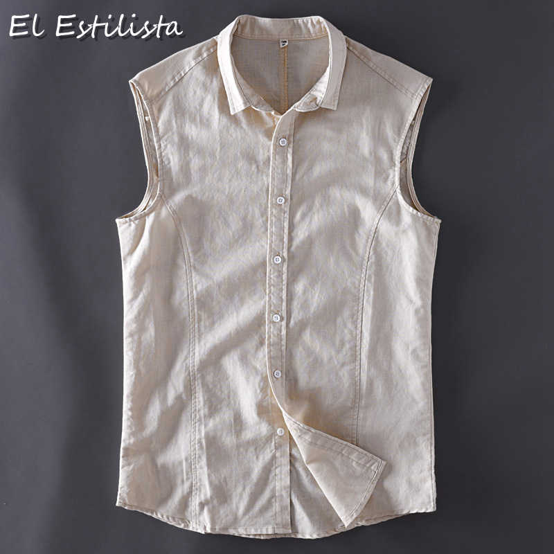 3a66473843c25 Summer Fashion Mens Sleeveless Linen Shirts Soft Slim Fit Solid Color Turn-down  Collar Casual
