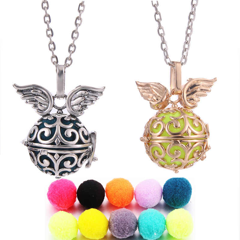 Mexico Chime Angel Wings Music Angel Ball Caller Locket Pendant Vintage Pregnancy Necklace for Aromatherapy Essential Oil Women