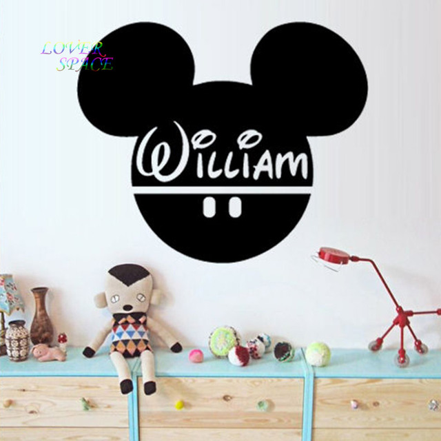 KINDERZIMMER Wandaufkleber Vinyl Dekorative Aufkleber Wandtattoo  Benutzerdefinierte Baby Name Kopf Mäuse Ohren Mickey Maus Wandkunst 56x67