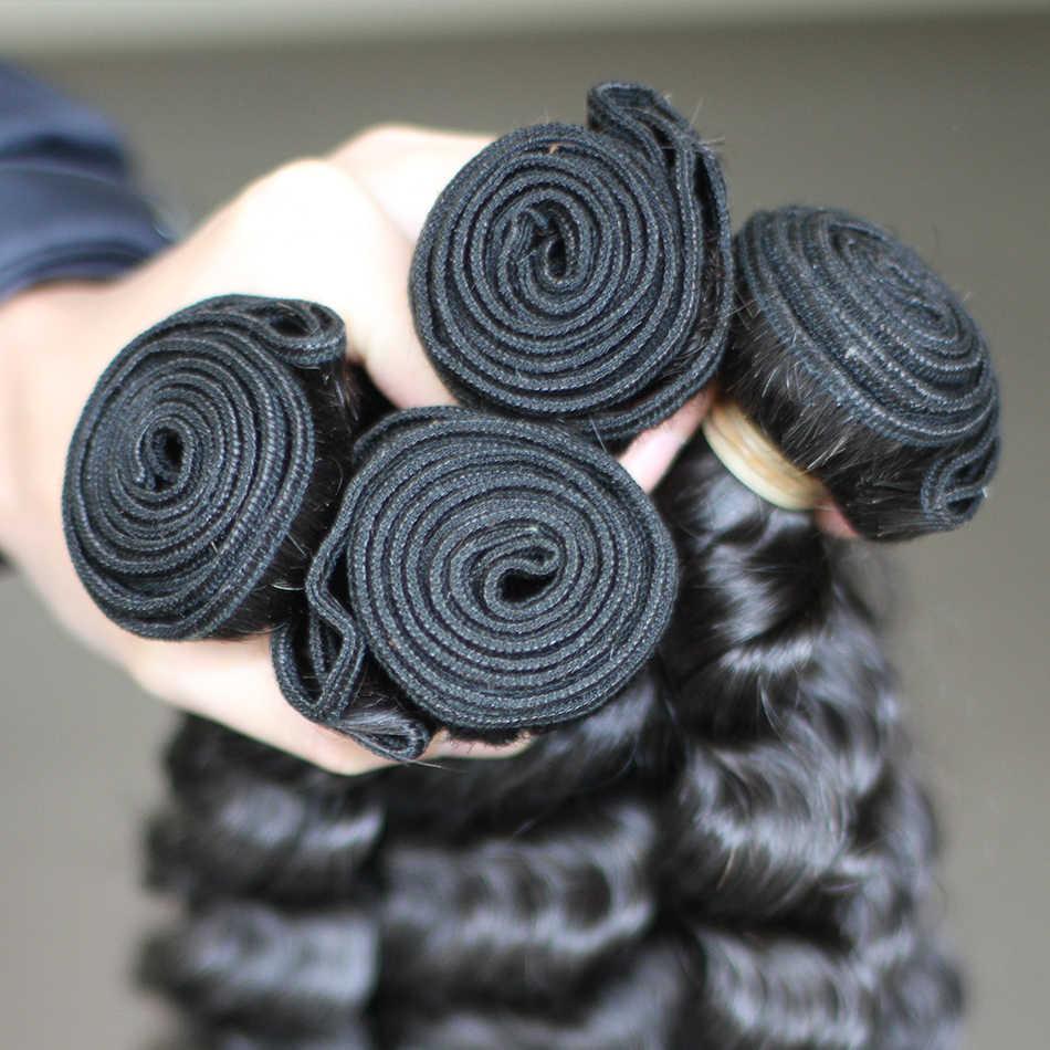 Rosabeauty 3 paquetes/lote 8A paquetes de pelo rizado malayo 10-30 pulgadas extensiones de cabello Remy 100% cabello humano armadura de la onda profunda