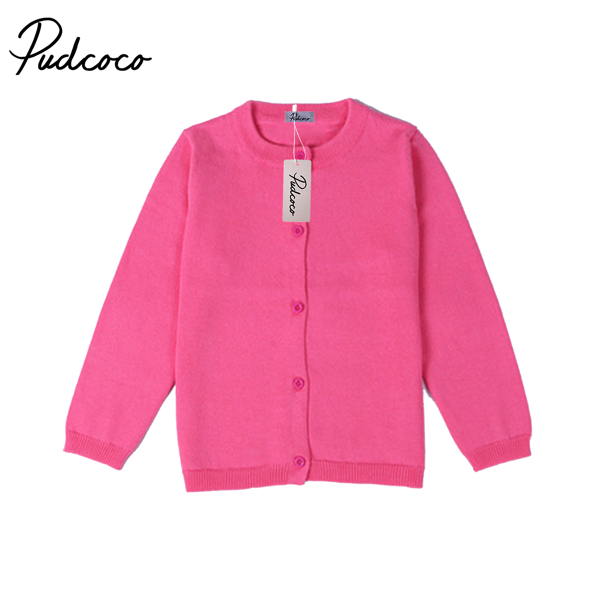 Pudcoco 2017 New Girl Jackets Autumn Spring Cotton Blend Long Sleeve Knitted Kid Candy-colored Cardigan Jacket Infant Girls 1-6Y ...