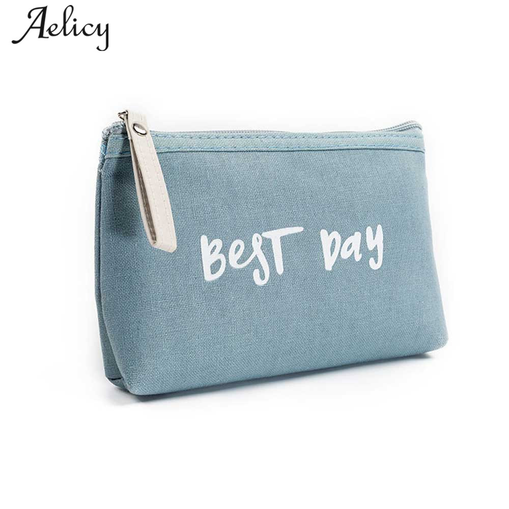 Aelicy New Transer Fashion solid color Women Letters Cosmetic Canvasr Bag Zipper Coin Purse Wallet Card Holders Handbag female цена 2017