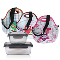 Fashion Owl Thermal Insulated Portable Lunch Bag Women Kids Waterproof Lunch Cooler Box Tote Food Container Hangbag with strap