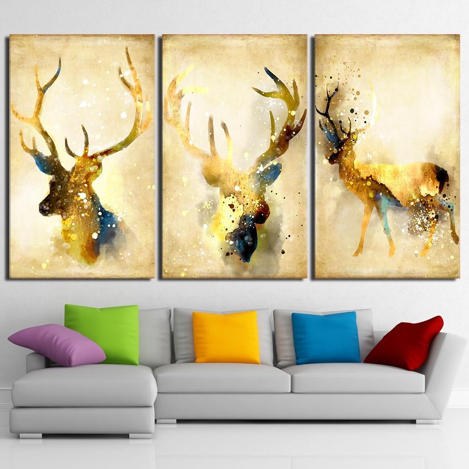 HD printed 3 piece deer elk animal yellow wall art canvas Painting ...