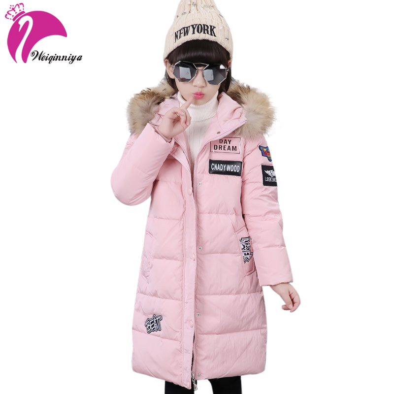 weiqinniya Girls Down Parkas Jackets Winter 2018 Kids Down Jacket For Girl Fashion Children Fur Hooded Jackets Girl Parka Jacket children girl jackets winter down coat jacket for girl fashion children fur hooded thick cotton down warm solid kid parka jacket