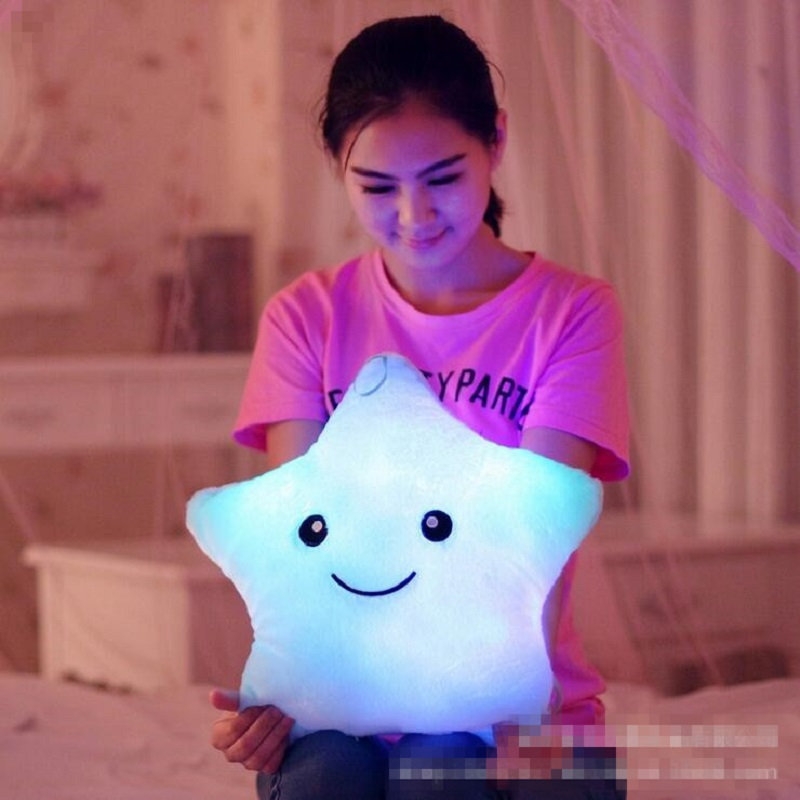 Kawaii star pillow plush toys cute luminous pillow toy led light pillow glow in dark plush