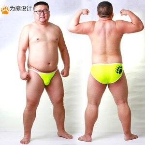Image 1 - Yeni Varış Ayı Pençe Artı Boyutu erkek Net Külot Seksi Şort Eşcinsel Ayı nefes alan iç çamaşırı Neon Sarı/Açık Mavi /kırmızı M L XL XXL