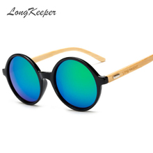 """LongKeeper"" Letter New Products Men Women Sun Glasses Bamboo Sunglasses Retro Vintage Wood Lens Wooden Frame Handmade Round"