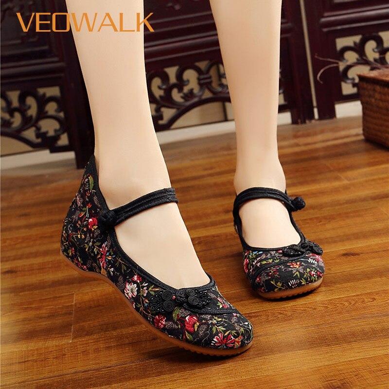 Veowalk Chinese Ruyi Knot Women Vintage Floral Canvas Ballet Flats Elegant Ladies Comfort Ballerina Shoes Woman Baleriny Shoes