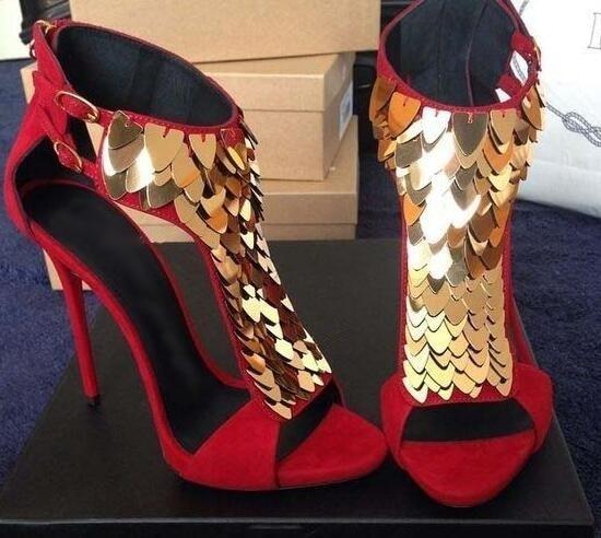 Femmes Picture Évider Embelli Haut Chaussures Dos Rouge Peep Talon À As Picture Paillettes Or Glissière D'été Noir Cuir Sexy as Toe Fermeture Flock Sandales paprUg4qHw