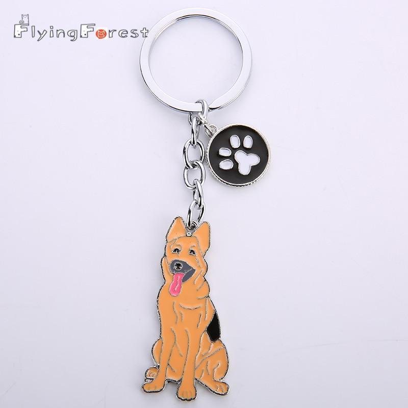 Mode PET Nyckelringar Hundar Nyckelringar Tyska herdehund Nyckelord Metall Charms För Väskor Partihandel Djur Nyckelring För Kvinnor Man Presenter