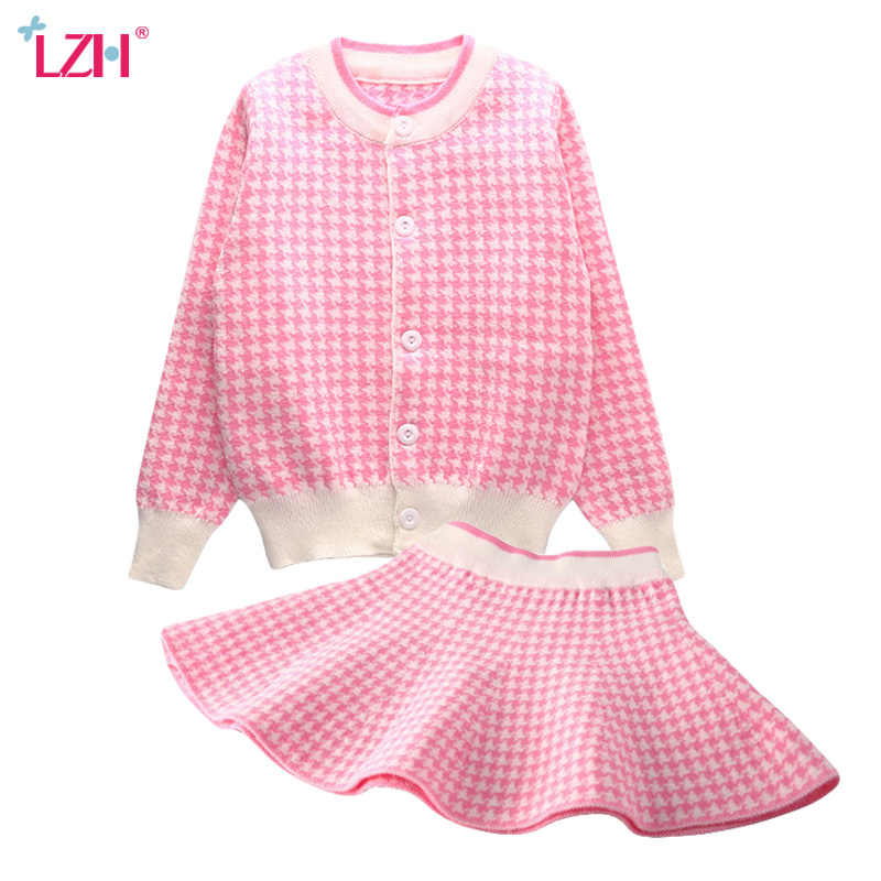 LZH Toddler Girls Clothing Set 2017 Autumn Winter Girls Clothes Sweater Cardigan+Skirt 2pc Kids Girl Sport Suit Children Clothes