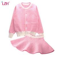 Baby Girls Clothing Set 2016 New Autumn Winter Bowknot Long Sleeve Cardigan Coat With Skirt 2pcs